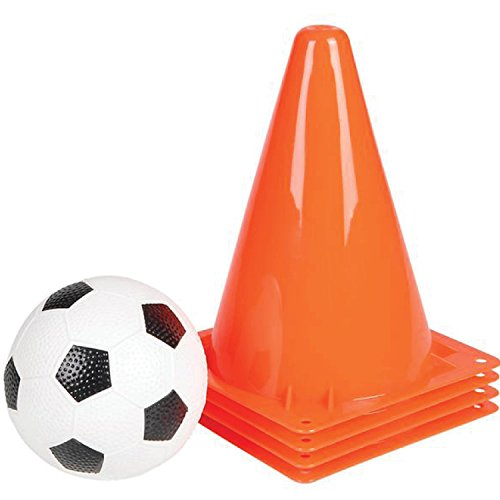 Gamie Kids Soccer Training Set Set Includes 4 Orange Sports Cones and a Soccer Ball - Sturdy Plastic Construction - High Visibility - for Outdoor Activity ()