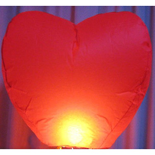 pay4save Heart Shape Chinese Sky Fly Fire Lanterns Wish Party Wedding Birthday, Set of 20, Red