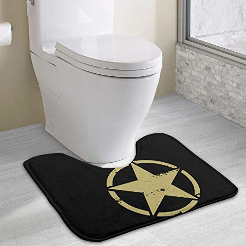 colory Army Star WWII Toilet Carpet Anti-Slip Contour Bath Rug Carpet Mat for Toilet 19.2″x15.7″