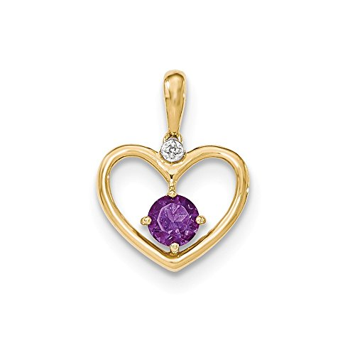 14k Yellow Gold Amethyst and Diamond Heart Pendant by Nina's Jewelry Box
