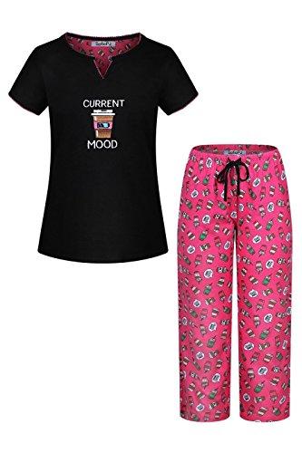 oidery Pure Cotton Sleepwear Capri Set Black Hot Pink M(542571) ()