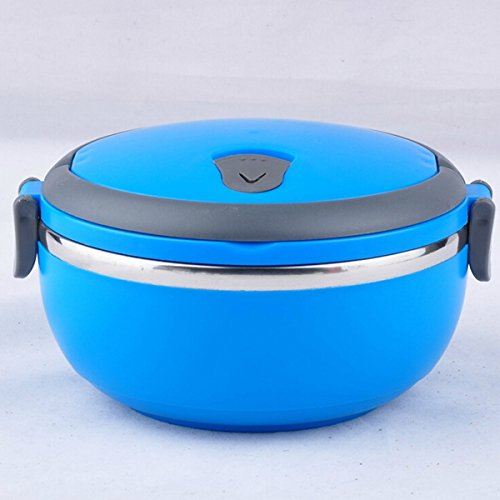 Oulii Portable Single-Layer Stainless Steel Thermal Insulation Lunch Box Food Container with Handle (Blue)