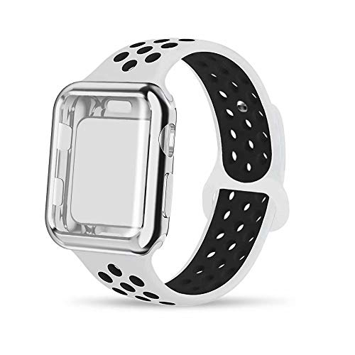 - INTENY Compatible for Apple Watch Band 44mm with Case, Soft Silicone Sport Wristband with Apple Watch Screen Protector Compatible for iWatch Apple Watch Series 1,2,3,4, 44mm M/L, White Black