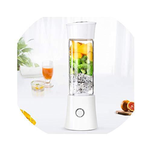480ml Portable Juicer Fruit Vegetable Juice Mixer Electric USB Rechargeable Manual Food Juicers Blender Fruit Mixer Bottle,White ()