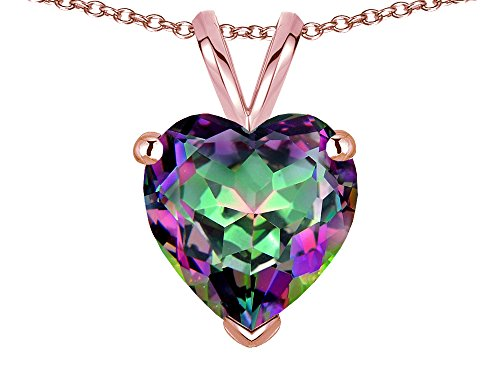 Star K 8mm Heart Rainbow Mystic Topaz Pendant Necklace 14 kt Rose Gold ()