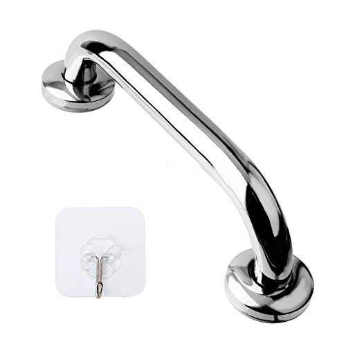 Handrail Safety - 12 Inch Stainless Steel Shower Grab Bar - ZUEXT Shower Handle, Bathroom Balance Bar - Safety Hand Rail Support - Handicap, Elderly, Injury, Senior Assist Bath Handle (w/ Self-adhesive Stick-on Hook)
