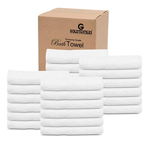 GOLD TEXTILES (5 Dozen) 60 Pcs New White 20x40 Inches Cotton Economy Bath Towels- Light Weight, Soft & Quick Dry
