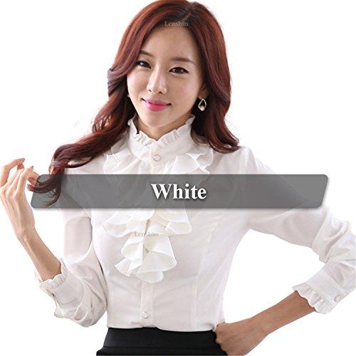 Guy-Hats White Blouse Fashion Female Full Sleeve Casual Shirt Elegant Ruffled Collar Office Lady Tops Women Wear White Blouse S ()