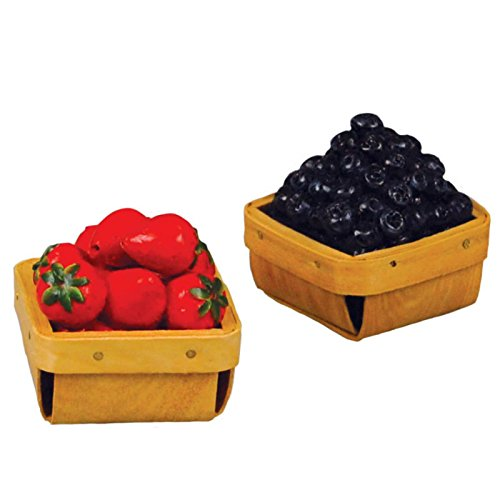Farm Fresh Set of 2 18 Inch Doll Wood Pint Baskets with Strawberries & Blueberries! Food Kitchen Accessories Fits American Girl Dolls. Use with Interchangeable Farm Stand