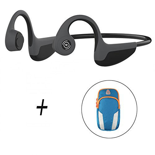 Trcode Bone Conduction Headphones Bluetooth,Open Ear Lightweight Stereo Hands-Free Z8 Sport Bone Conduction Headphones Wireless with Microphone for Listening Music and Running(Black Grey)