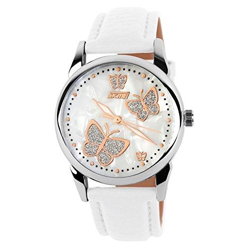 Linda Mujeres Chicas Relojes - Correa de Cuero Luminoso Mariposa Cuarzo Relojes de Pulsera para Chicas Damas: Amazon.es: Relojes