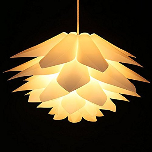 Lotus Shape Chandelier Pendant Ceiling Lamp DIY Home Living Room Bedroom Decoration Shade Hanging Light Lampshade led Party Xiaolanwelc (Yellow)