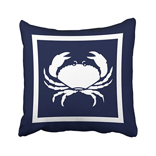 White Crab - Accrocn Square Throw Pillow Covers Outdoor Nautical Crab White Navy Reversable Outdoor Pillowcases Polyester 18 X 18 Inch with Hidden Zipper Home Sofa Cushion Decorative Pillowcase
