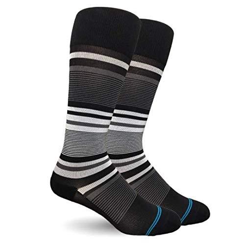 Black Cosmic Socks - Dr. Segal's 15-20 mmHg True Graduated Compression Socks, Stripe Cotton Black/Grey (Medium)