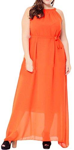 Cromoncent Femmes Swing Licol Boho Plus La Taille Plage Maxi Robe En Mousseline De Soie Orange,