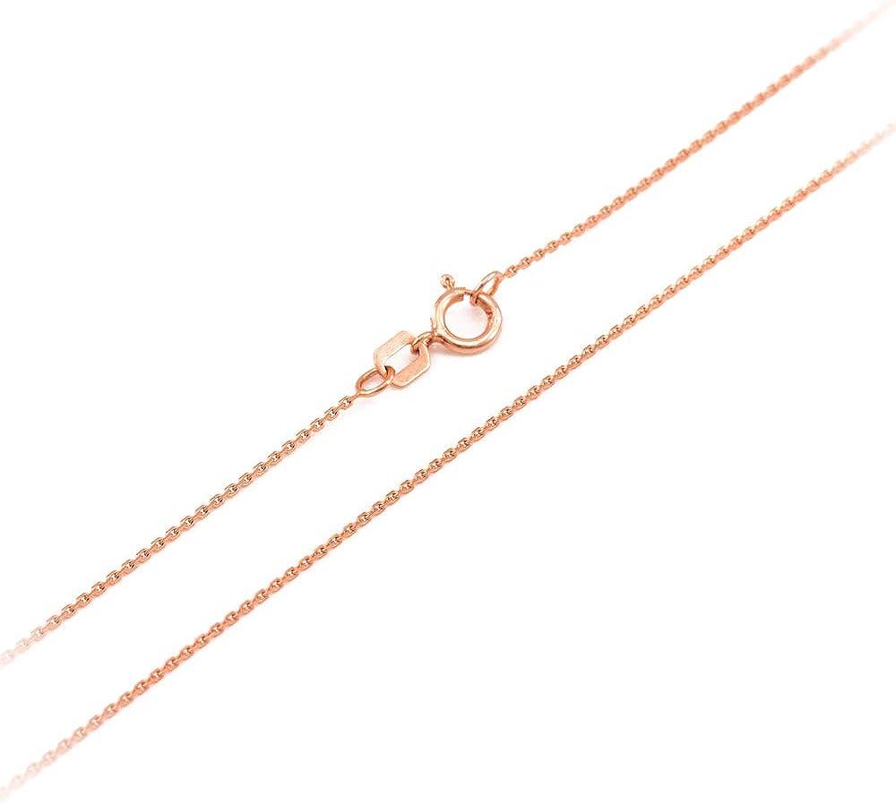LA BLINGZ 10K Rose Gold Letter E Initial Pentagon Pendant Necklace