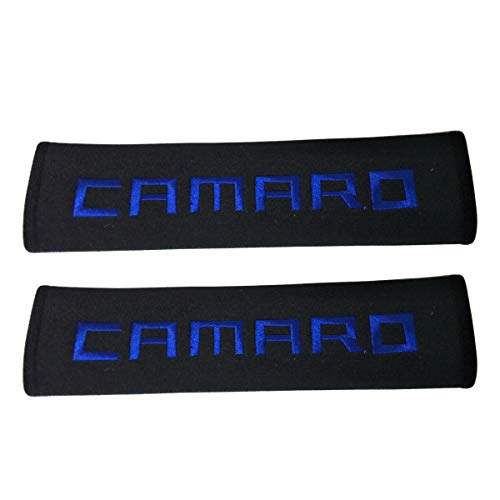 Comfortt 2pcs New Car Seat Belt Black Shoulder Pad Soft Fabric Blue Camaro Stitching Car Interior Accessories Compatible Fit for Coupe Sports Convertible Chevrolet Camaro SS ZL1