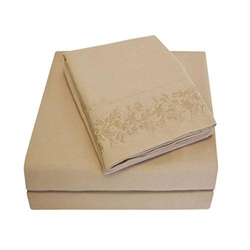 Super Soft Light Weight, 100% Brushed Microfiber, Wrinkle Resistant, Twin 3-Piece Sheet Set, Taupe with Floral Lace Embroidery Pillowcases in Gift Box