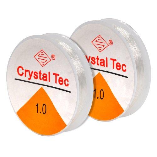 TRIXES 2 Rollen mit transparentem elastischem Faden von 1 mm für Perlenschmuck, 8 m
