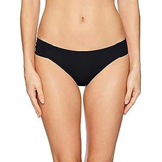 Trina Turk Women's Shirred Side Hipster Pant Bikini Swimsuit Bottom, Black/Key Solids, 8