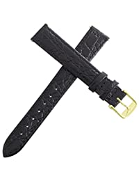 Longines Women's 14mm Black Leather Replacement Watch Band Strap Gold Buckle