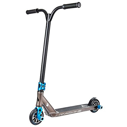 Stunt Pegs (Chilli Machine Complete Park Scooter - Black and Blue - Freestyle Stunt Scooter with pegs for kids, teens, adults - Aluminum Deck and Fork, 4130 Chromoly T Bar, 3-Bolt Clamp, 120mm Urethane Wheels)
