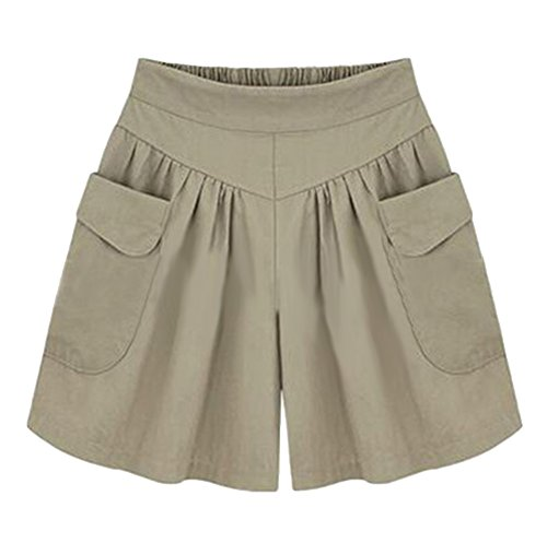 AvaCostume Women's Summer Comfortable Culottes Elastic Waist Wide Leg Pocket Casual Shorts Khaki L (Large Casual Shorts)