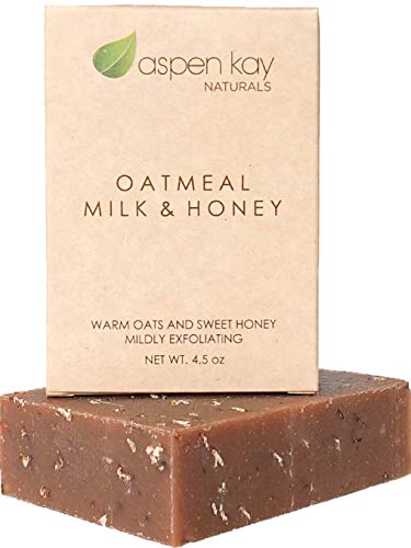 Oat Bar Soap Milk - Oatmeal Soap Bar. With Organic Raw Honey, Goats Milk, Organic Shea Butter, Can Be Used as a Face Soap or All Over Body Soap. Exfoliating Soap. 4oz Bar.