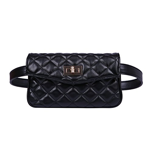 HDE Quilted Fanny Pack Faux Leather Fashion Belt Bag Waist Pack for Women with 2 Belts]()