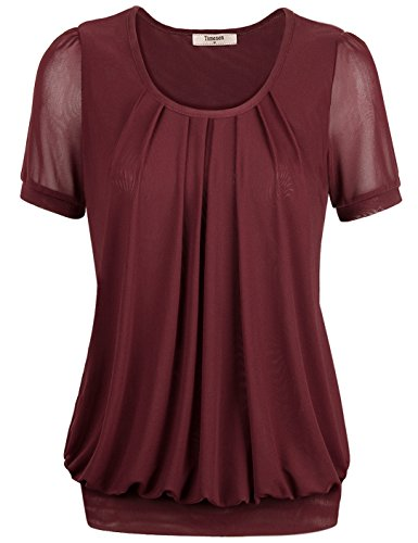 T-shirt,Timeson Womens Soft Day to Night Short Sleeve Big Size Tunic Top for Office or Casual Wear X-Large Wine