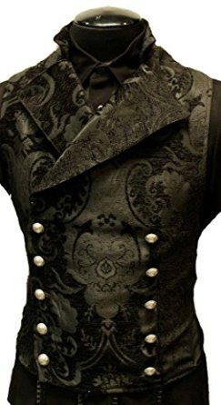 Shrine Men's Black Victorian Gothic Tapestry Cavalier Jacket Vest (42