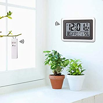 Forestime Digital Atomic Wall Clock, Desk Alarm Clock, Battery Operated with Wireless Sensor 300 ft 100 Meter Range, Large LCD Display, Indoor Outdoor Temperature, Table Standing Without Backlight
