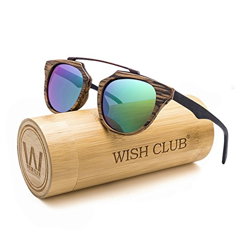 WISH CLUB Wood Frame Polarized Lenses Sunglasses for Women and Men Wooden Cat Eye Bamboo Vintage Handmade Fashion Eyewear Mirrored Light Retro Glasses with Box UV 400 Protection - Wooden Eyewear Frames