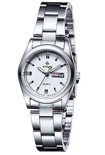 Women's Watches Luminous Waterproof Calendar Ladies Stainless Steel Dress Quartz Wrist Watch (Silver)