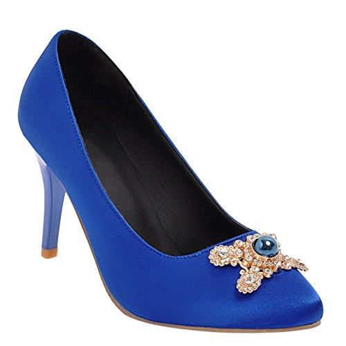 Charm Foot Womens Chic Rhinestone High Heel Dress Pumps Shoes Blue
