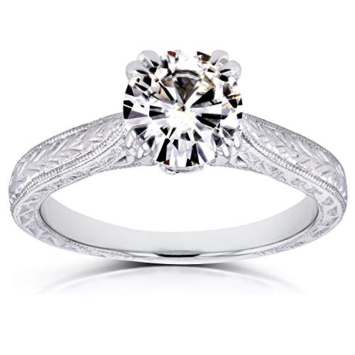 (Antique Style Moissanite Engagement Ring 1 CTW in 14k White Gold, Size 10.5, White Gold)