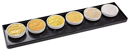 Coliro M600 Artist Mica Watercolor Paint, Metallic, Gold (6-Color/Set)