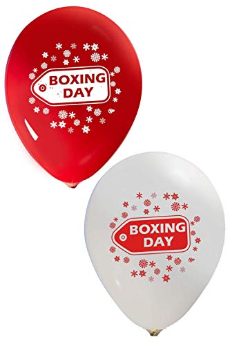 Boxing Day Balloons - 12 Inch Latex - 2 Sided Print (16 Count) for Event Use - Fill with Air or Helium