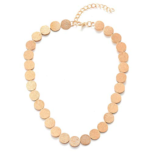etallic Charm Gold Color Choker Collar Necklace, Textured Circle Link Chain, Party, Light Weight ()