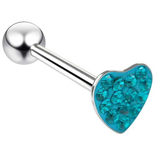 14g Heart Shaped Tongue Stud Flat Head Glittery Ball Sparkling Crystal Piercing Jewelry Blue Zircon