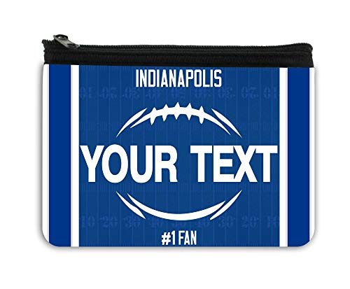 BRGiftShop Personalized Custom Name Football Team Indianapolis Neoprene Coin Purse