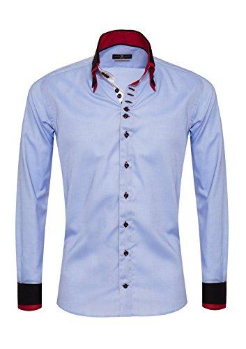 Giorgio Capone Premium Design Herrenhemd, blau mit schwarzen und roten Akzenten, Langarm, Button-Down-Kragen, Slim/Normal & Regular-Plus Fit