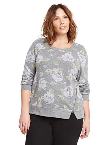 Floral Print Zip Sweatshirt