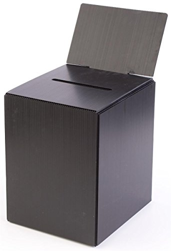 Displays2go Set of 10, Donation Box with Removable Header, Corrugated Plastic Suggestion Box for Tabletop Use, Black (Plastic Suggestion Box)