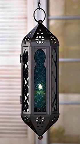 Blue Panel Glass Chain Hanging Candle Light Lantern Spiritual Bliss Glow Lamp