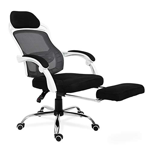 Reclining Office Desk Chair with Footrest, Adjustable High Back Ergonomic Computer Task Chair, for Office, Home and Study Room White