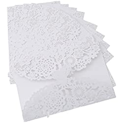 HS 10pcs/pack Paper Laser Cut Wedding Invitations Cards Lace Butterfly Wedding Invitation Kit for Bridal Shower Birthday