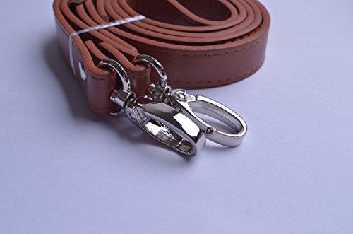 Wento 1pcs 43''-49'' Pu Brown Leather Adjustable Bag Strap,soft Leather Shoulder Straps,replacement Cross Body Purse Straps,handbag Bag Wallet Straps (Silver)