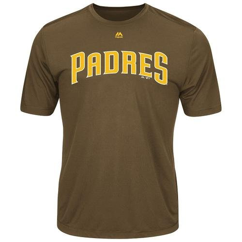 Majestic San Diego Padres Adult 2XL Wicking MLB Licensed Authentic Replica Crewneck T-Shirt