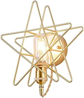 Lámpara de pared dorada Diseño de cabecera Luz Pentagrama de cobre ...